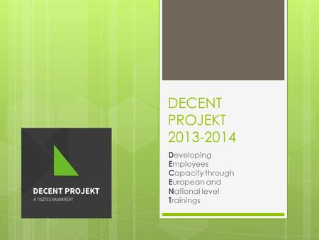 DECENT PROJEKT 2013-2014 D eveloping E mployees C apacity through E uropean and N ational level T rainings.