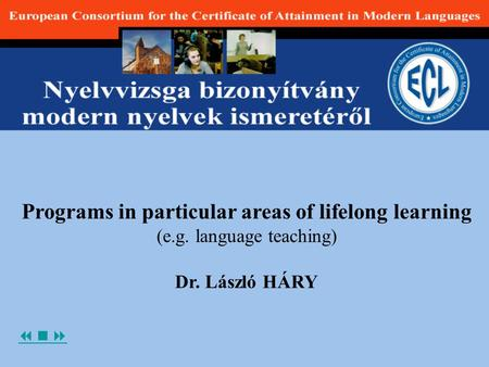  Programs in particular areas of lifelong learning (e.g. language teaching) Dr. László HÁRY.