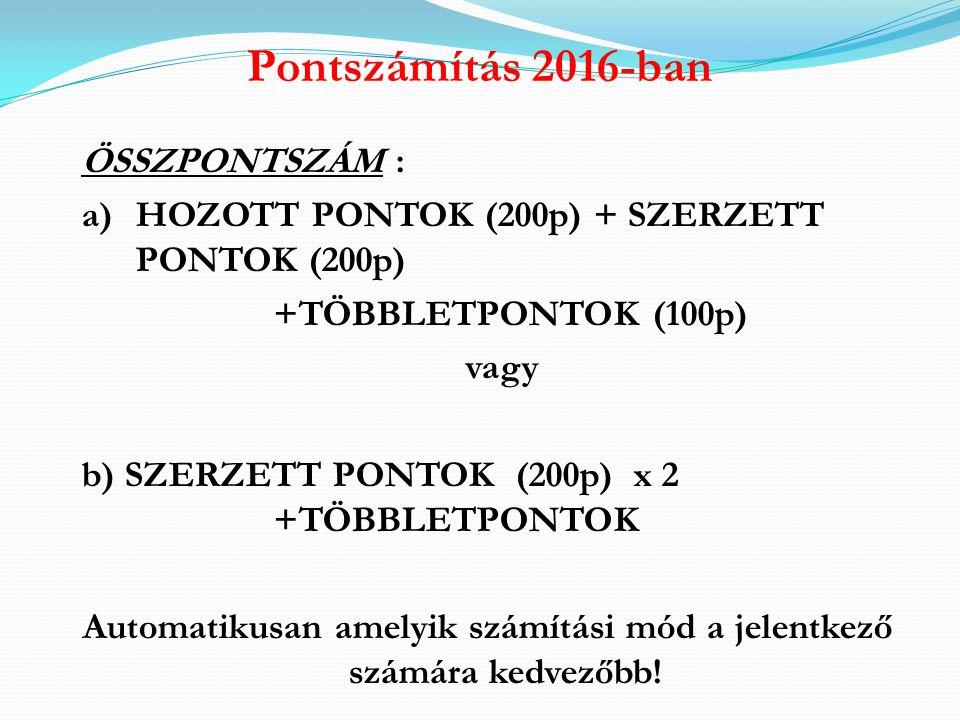 """Pontszámítás 2016-ban a) """"HOZOTT (tanulmányi) PONTOK (max."""