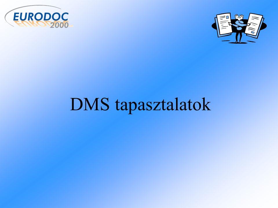 DMS rendszerekkel szembeni elvárások Múlt ElvárásMegvalósulás Papírmentes irodaNem valósult meg A papír alapú dokumentumok megszűnéseNem valósult meg, sőt növekedett a számuk A dokumentumok szélesebb körű eléréseMegvalósult A dokumentumok biztonságának növeléseMegvalósult A dokumentumok folyamatokba integrálásaRészben megvalósult Az emberi munka jelentős részének kiváltása Részben megvalósult Fénymásolás, nyomtatás megszűnése Nem valósult meg