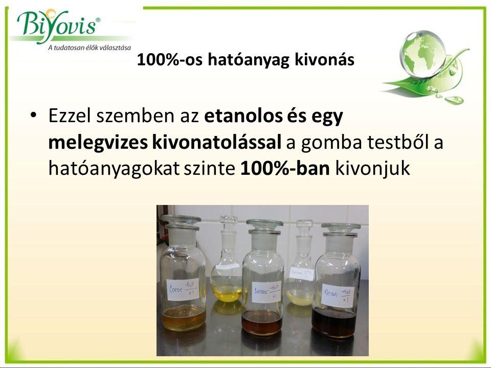 Etanolos frakció Etanolos frakció esetében a szárított gombát 96%-os etanolban áztatjuk egy hétig, ezáltal a gombatestből kinyerjük az összes szerves hatóanyagot, - foszfolipideket - zsírban oldódó vitaminokat (ergoszterol), - növényi szteroidokat, - nem hidrolizáló lipideket (terpének, szteroidok, karotinoidok), benzaldehidet.