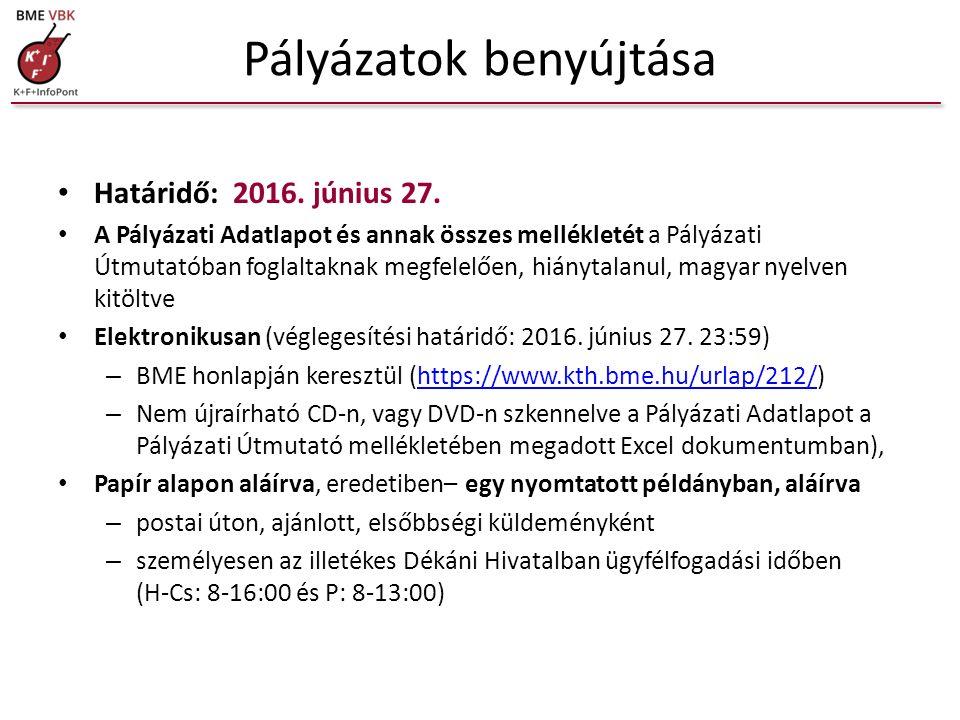 Benyújtandó mellékletek Pályázati adatlap (aláírva, eredetiben) 1.