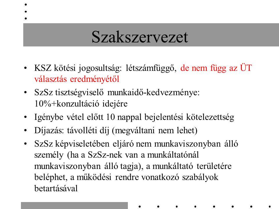Kollektív szerződés Kötheti: –Munkáltató (munkáltatói érdekképviseleti szervezet a tagok felhatalmazásával) –Szakszervezet, vagy szakszervezetek (együttesen, megkötést követően feltételeknek megfelelő szsz módosítást kezdeményezhet, tárgyalásokon tanácskozási joggal részt vehet) Kötési képesség -létszám/szsz tagok (10%) arányában, nem ÜT-hez kapcsolódóan Egy munkáltatónál csak egy KSZ köthető KSZ kötésére irányuló ajánlat tárgyalása nem utasítható vissza
