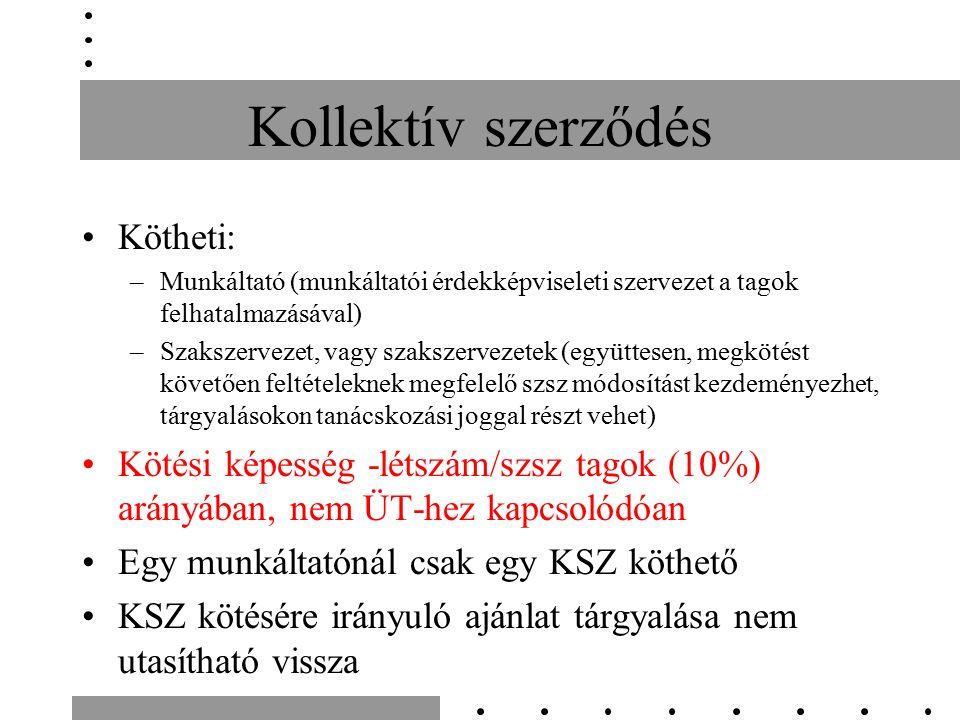 Kollektív szerződés Részei: –Kötelmi (felek kapcsolata, de harmadik személyre pl.