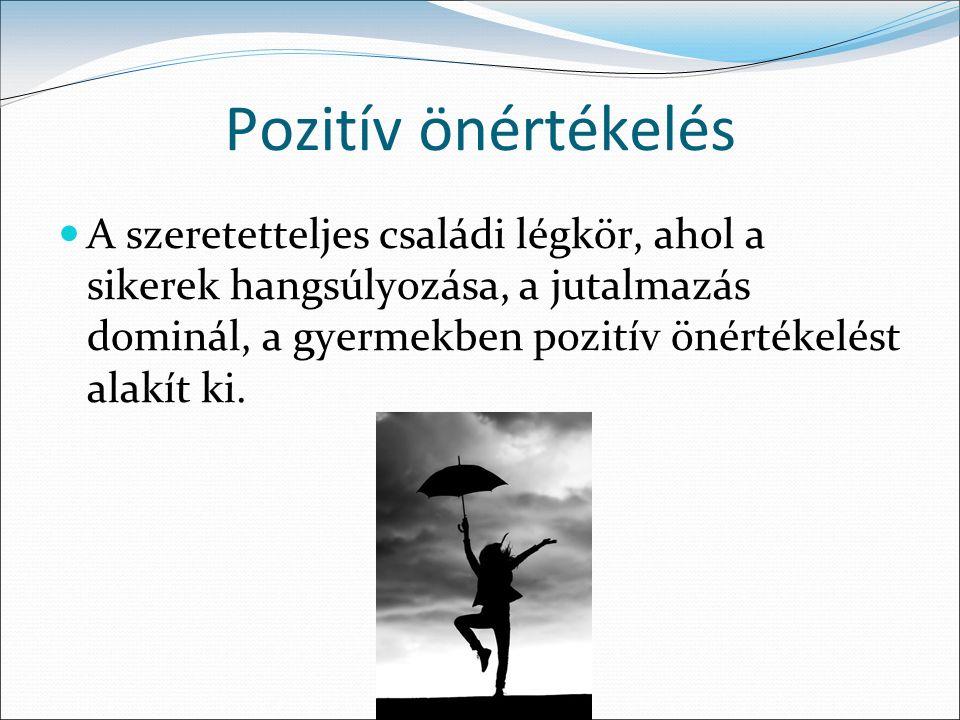 Pozitív önértékelésű személyek Kevésbé veszik észre saját negatív tulajdonságaikat.