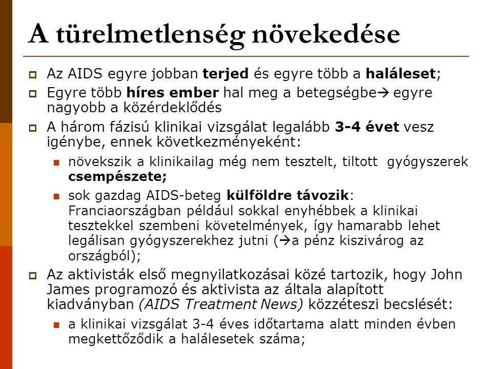 """Az AIDS aktivizmus kialakulása  """"Gay plague : az amerikai közvélemény szemében az AIDS a melegek betegsége Részben a Reagen- kormányzat konzervatív politikájának következménye a homofóbia felerősödése;  Ellenhatásként a melegek között (újra)erősödik az összefogás: a korábban is létező közösségek aktivizálódnak újak jönnek létre (főleg San Franciscoban)  Az AIDS aktivizmus térnyerésére az is hat, hogy az orvosok és tudósok között is vannak melegek, akik esetleg fertőzöttek is;  A gyógyszergyárak az aktivisták mellé állnak, ők is nyomást gyakorolnak a klinikai vizsgálatokat vezetőkre A Gólem – BME Filozófia és Tudománytörténet Tanszék"""