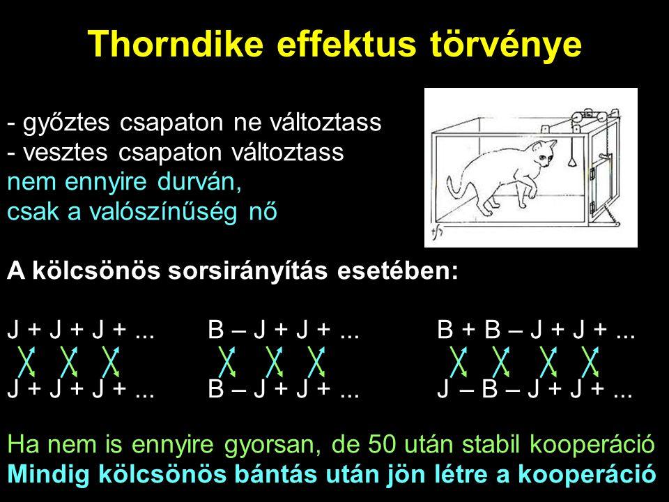 Aszinkron helyzet Amit nem érzékelhetnek a játékosok: időbeli eltolódás Thorndike szerint itt: J + J – B – J – B + B + B – J + J – B – J – B + B + B –...