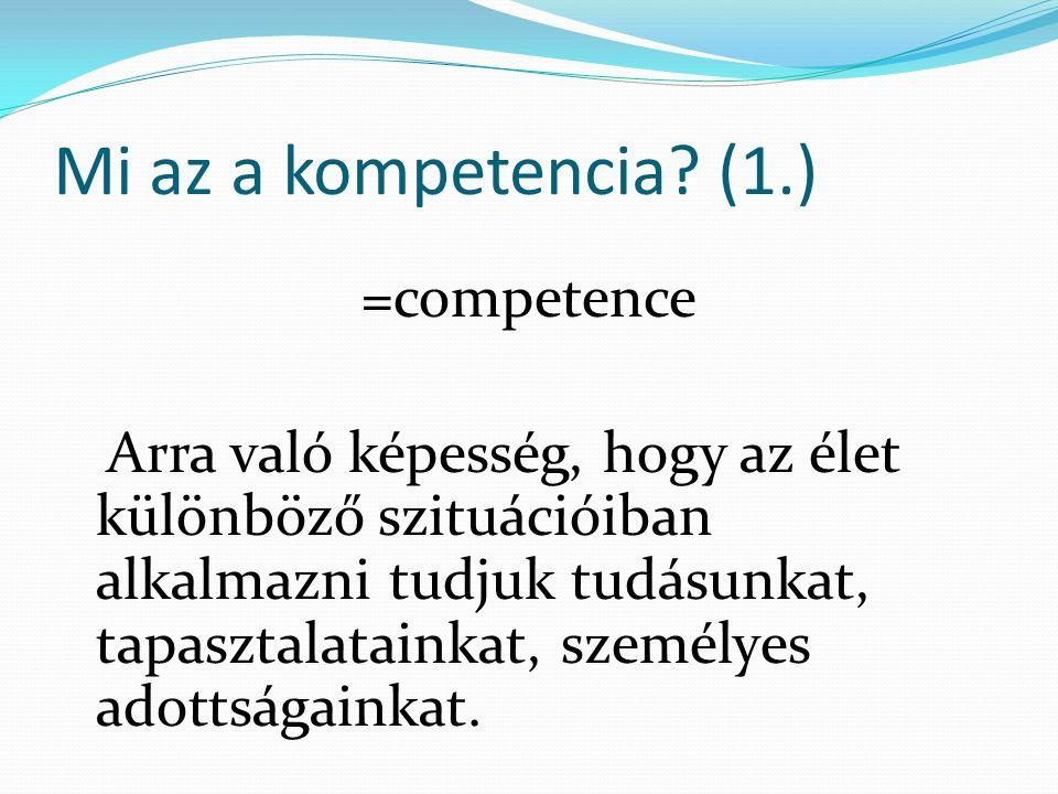 Mi az a kompetencia.(2.) A megtanult ismeretek új helyzetben való alkalmazása.
