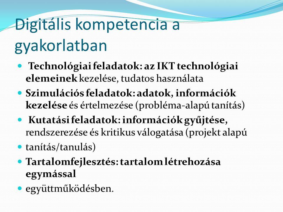 IKT eszközök használata Önmagában nem elég, hiszen számos tudáselem van, amelyet csak az IKT eszköz használattal nem lehet elsajátítani (pl.