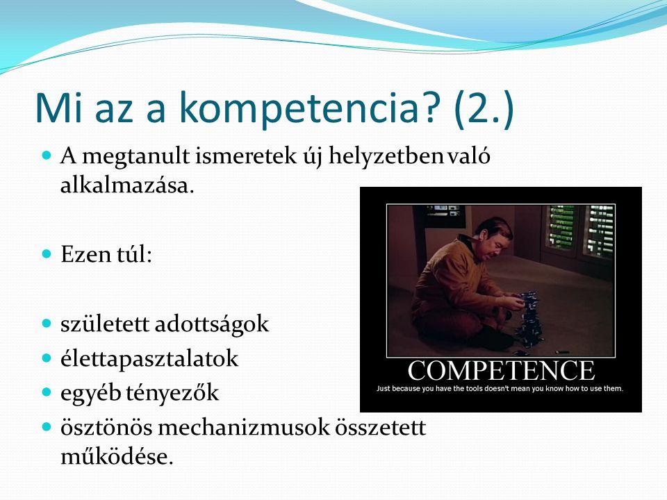 Mi az a kompetencia.(3.) A kompetencia az ismeretek, képességek és attitűdök egysége.