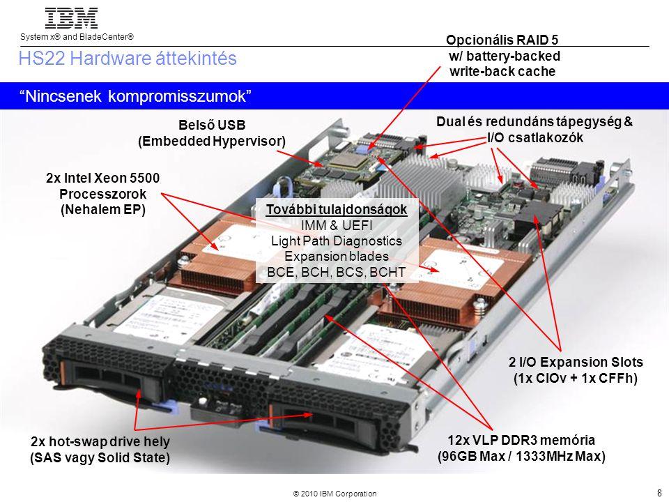 System x® and BladeCenter® © 2010 IBM Corporation 9 IBM BladeCenter HS22V Maximális memória kiépítésű DP blade, kimondottan virtualizációra optimalizálva Dual & Redundáns Tápellátás/IO HS22-vel megegyező I/O (1x CIOv + 1x CFFh) 18x VLP DDR3 memória slot (144GB Max / 1333MHz Max) 2x WSM-EP Processzor (NHM-EP támogatás) 2x 1.8 SSD NHS RAID 0/1 Belső USB (Embedded Hypervisor) További funkciók IMM & UEFI P-State Capping TPM 1.2 Light Path Diagnostics PCI Expansion Blade