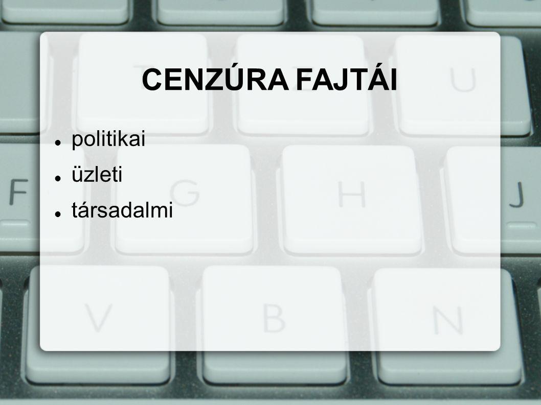 a hatalmi pozícióit fenyegető információk, vélemények korlátozása POLITIKAI