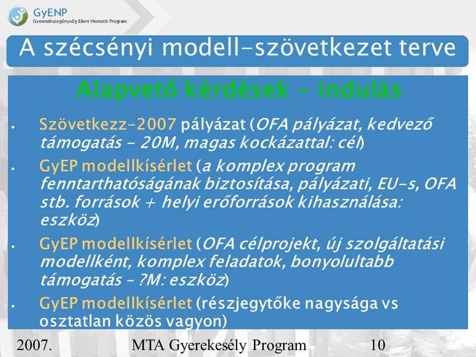 2007.december 5. MTA Gyerekesély Program11 A szécsényi modell-szövetkezet terve  Mire építhetünk.