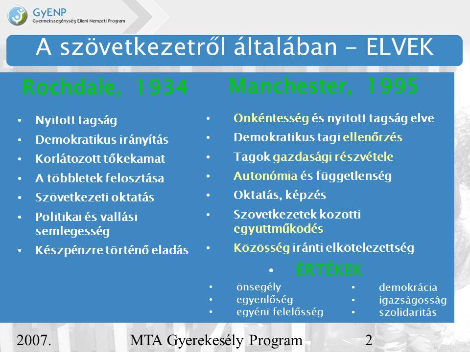 2007.december 5. MTA Gyerekesély Program3 A szociális szövetkezet Magyarország, 2006 2006.