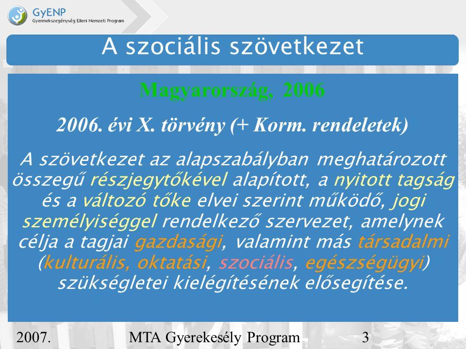 2007.december 5. MTA Gyerekesély Program4 A szociális szövetkezet Magyarország, 2006 2006.