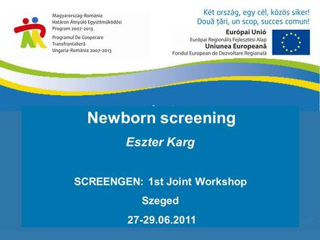 1 640 727,43 EUR Newborn screening Eszter Karg SCREENGEN: 1st Joint Workshop Szeged 27-29.06.2011.