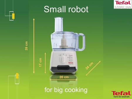 Small robot for big cooking 39 cm 20 cm 24 cm 17 cm.