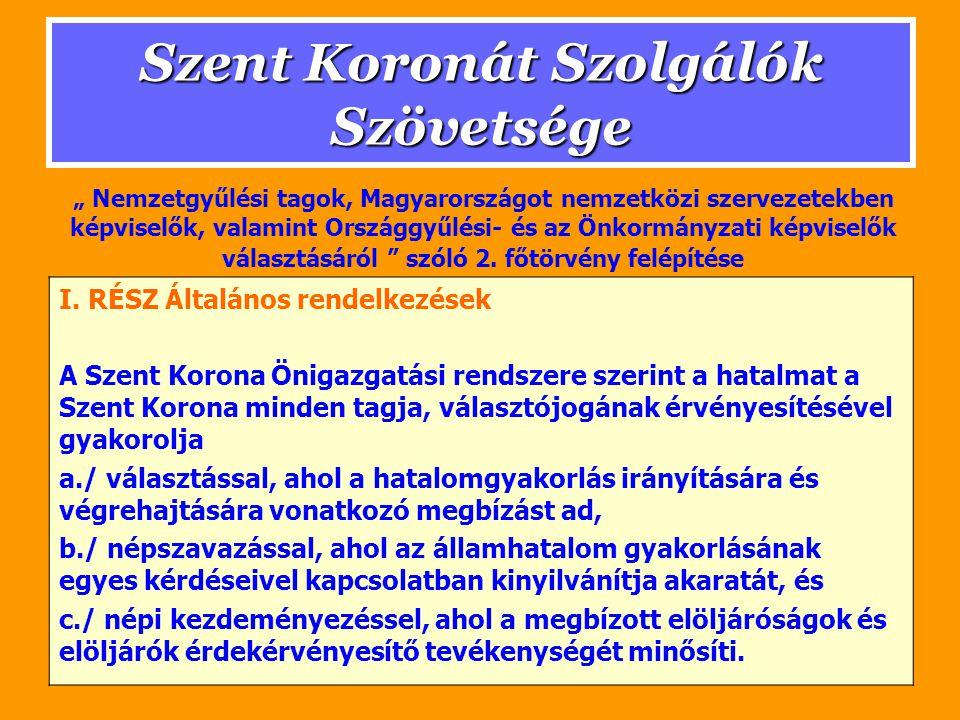 Szent Koronát Szolgálók Szövetsége A választás és választhatóság joga (1) Az Alaptörvény 76.