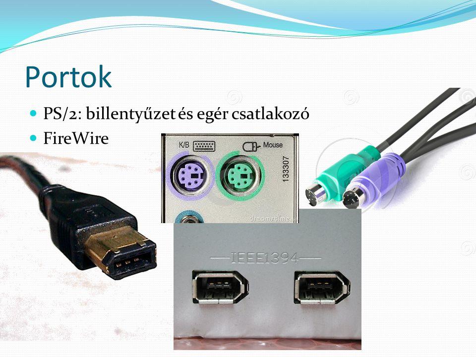 Portok  Képernyő portok  D-SUB (VGA): régi, analóg monitorokhoz  DVI (Digital Video Interface)  TV-csatlakozók: Composite (RGB),  S-video  HDMI (High Definition Multimedia Interface)