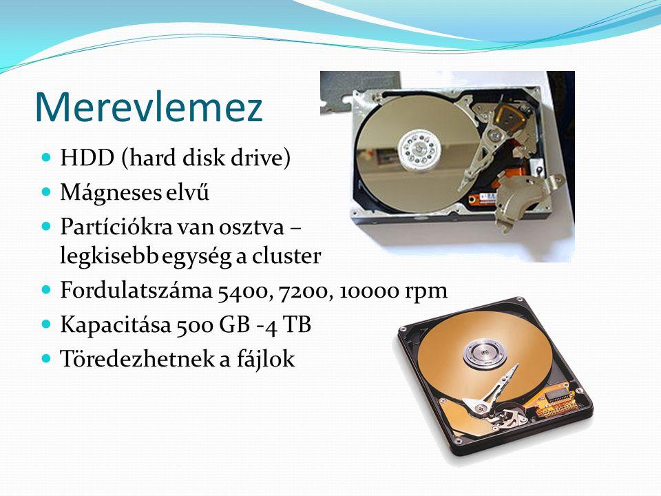 Optikai tárak  CD-ROM, CD-R, CD-RW  Tárolókapacitás:  50MB - 74min  00MB - 80min  Spirálban ír, ezért az adat helye: perc:másodperc:századmásodperc  az információt lézerfénnyel rögzítik, pit-ek (gödrök) és land-ek (szigetek)