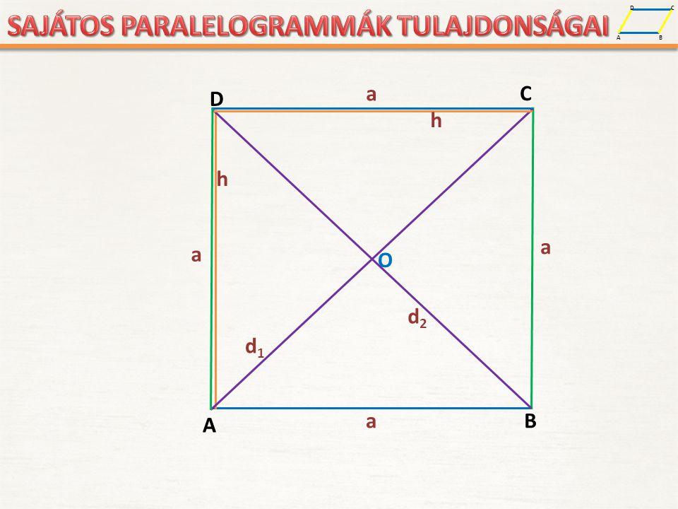 A D B C A NÉGYZET TULAJDONSÁGAI: OLDALAI: Minden oldala egyenlő.