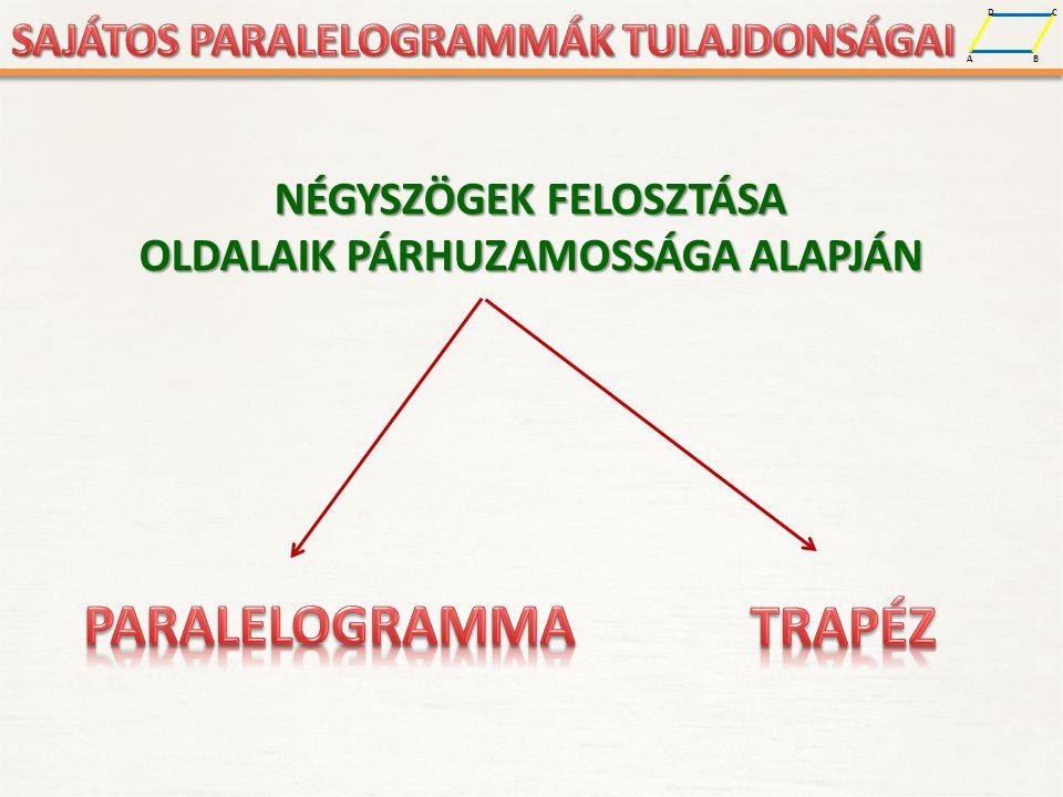 A D B C A D B C A PARALELOGRAMMA OLYAN NÉGYSZÖG, AMELYNEK KÉT PÁR SZEMKÖZTI OLDALA PÁRHUZAMOS