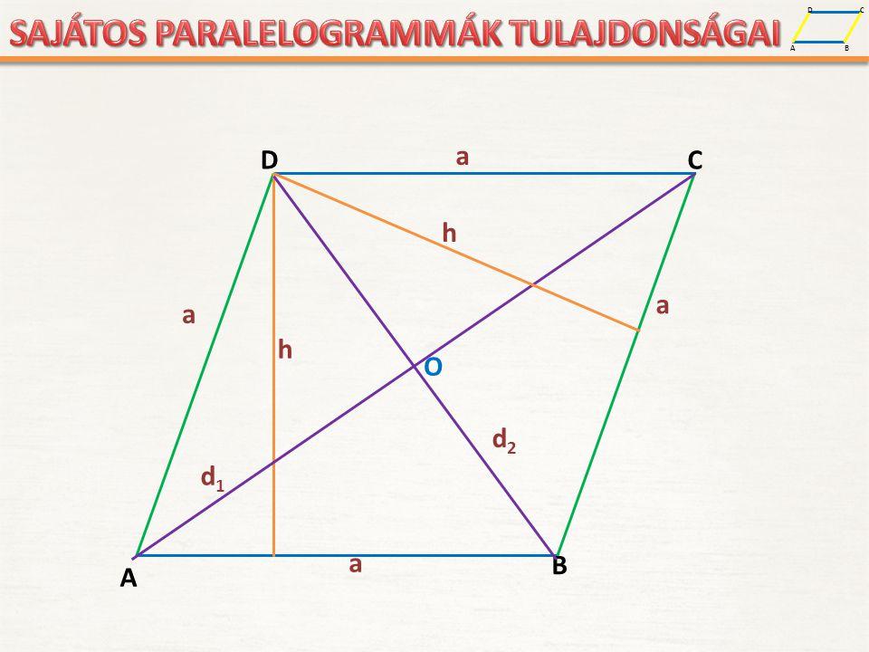 A D B C A D B C a a a a h O d1d1 d2d2 h a – a rombusz oldala (mindegyik egyforma) d 1 és d 2 – a rombusz átlója (felezik egymást - O) h – a rombusz magassága (két párhuzamos oldal közötti távolság – merőleges az oldalra) közötti távolság – merőleges az oldalra) A ROMBUSZ ELEMEI