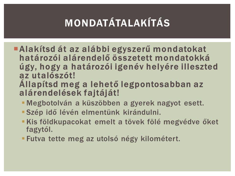 JELZŐI ALÁRENDELÉS