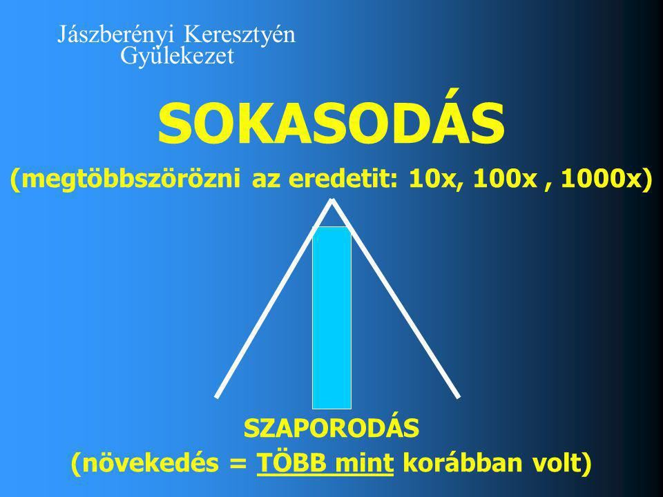 Jászberényi Keresztyén Gyülekezet SOKASODÁS (megtöbbszörözni az eredetit: 10x, 100x, 1000x) SZAPORODÁS (növekedés = TÖBB mint korábban volt)