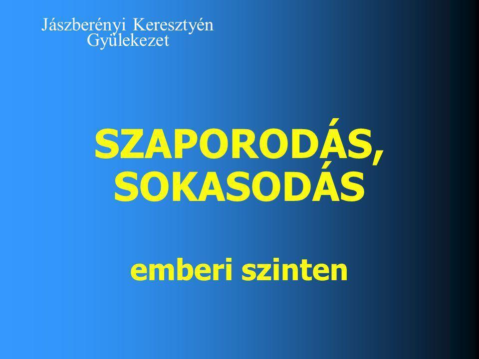 Jászberényi Keresztyén Gyülekezet SZAPORODÁS, SOKASODÁS emberi szinten