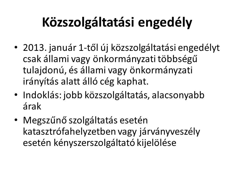 Problémák • Külföldi tulajdonú cégek → uniós jogvita, a verseny korlátozása • Sok településen a korábbi szerződés 2013.