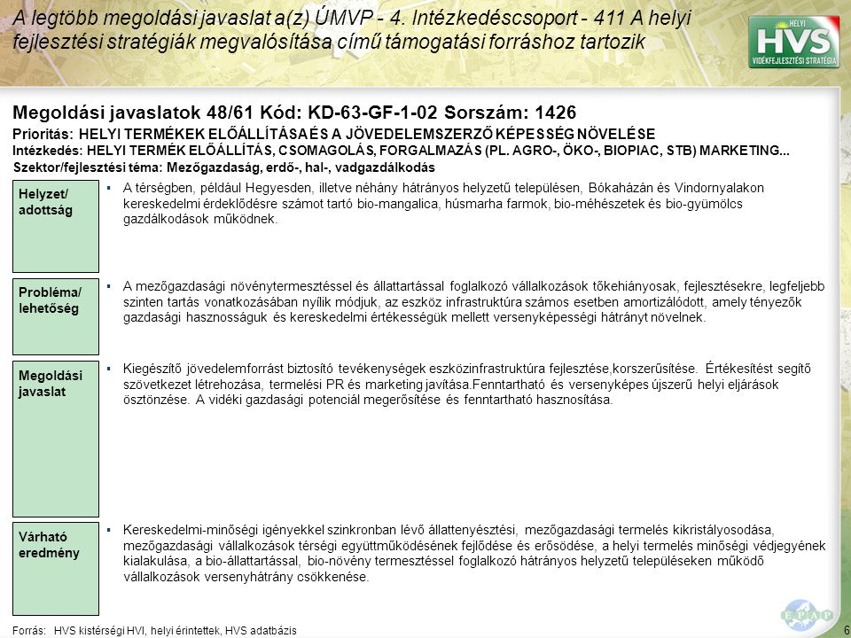 7 Forrás:HVS kistérségi HVI, helyi érintettek, HVS adatbázis A legtöbb megoldási javaslat a(z) ÚMVP - 4.