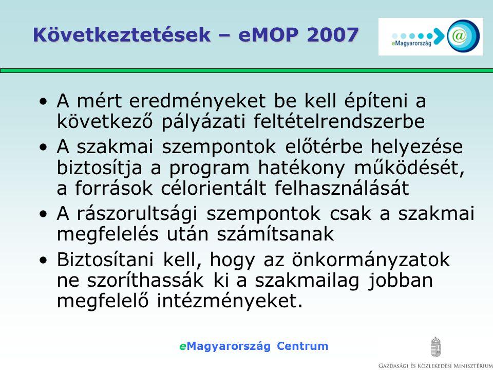 eMagyarország Centrum Következtetések – eMOP 2007 Célfeladatok 2008-2009-re 1.Az e-Közigazgatás használatának hatékony segítése, elterjesztése 2.A Digitális írástudatlanság felszámolásában jelentős feladatvállalás: 1.Az elzárkózó lakosság motiválása 2.Egyéni oktatás – segítségnyújtás 3.Lakossági digitális kompetencia képzések