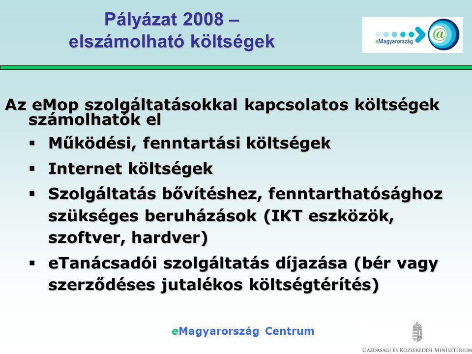 """eMagyarország Centrum Sikerek - Hasznok Társadalmi  Digitális írástudás növekedése  Hátrányos helyzetűek (területek és csoportok) bevonása  Vidéki lakosság életminőség javulása Politikai  eMO 1.0 """"újrahasznosítása – társadalmi elismertség  civil oldali kooperáció  aktív országos """"network kiépülése  Pozitív sajtó Nemzetgazdasági  e-ügyintézés elterjedése - költségmegtérülései  versenyképesség növekedés  piacélénkülés, vállalkozási szinergiák"""