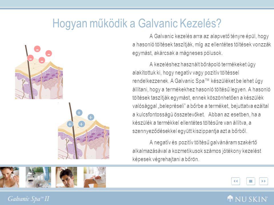•Az előkezelés során a Galvanic Spa™ készülék negatív töltésű, ugyanúgy ahogy az Előkezelő gélek is.