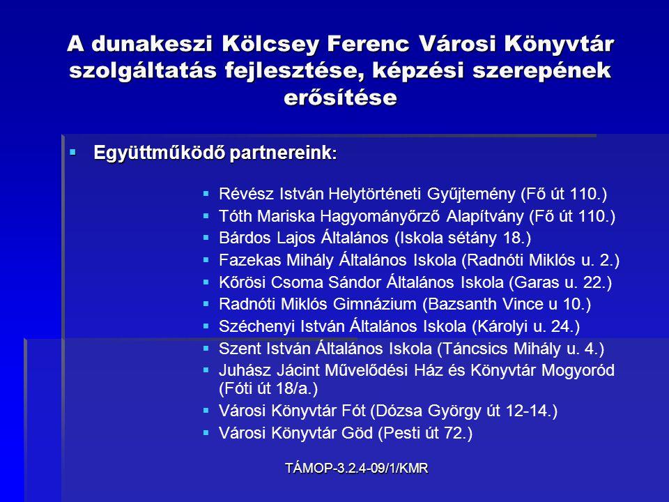 TÁMOP-3.2.4-09/1/KMR A dunakeszi Kölcsey Ferenc Városi Könyvtár szolgáltatás fejlesztése, képzési szerepének erősítése Köszönet mindenkinek, aki részt vett a pályázat elkészítésében, és részt vesz a feladatok megvalósításában.