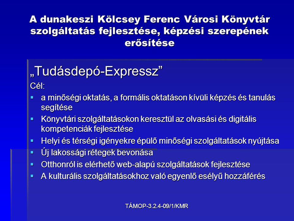 TÁMOP-3.2.4-09/1/KMR A dunakeszi Kölcsey Ferenc Városi Könyvtár szolgáltatás fejlesztése, képzési szerepének erősítése   Főbb céljaink röviden megfogalmazva:   adatbázisok építése   web 2.0-s honlap készítése   az olvasáskultúra fejlesztése   24 órás online szolgáltatások megvalósítása   helytörténeti kutatás és elektronikus közzététel   könyvtárhasználat – információkeresés   e-tájékoztatás   könyvtárosok képzése