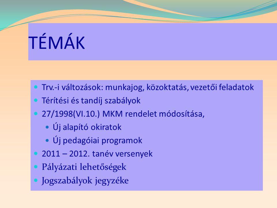 Tanév rendje 30/2011.(VI.7.) NEFMI r.  első tanítási napja: 2011.