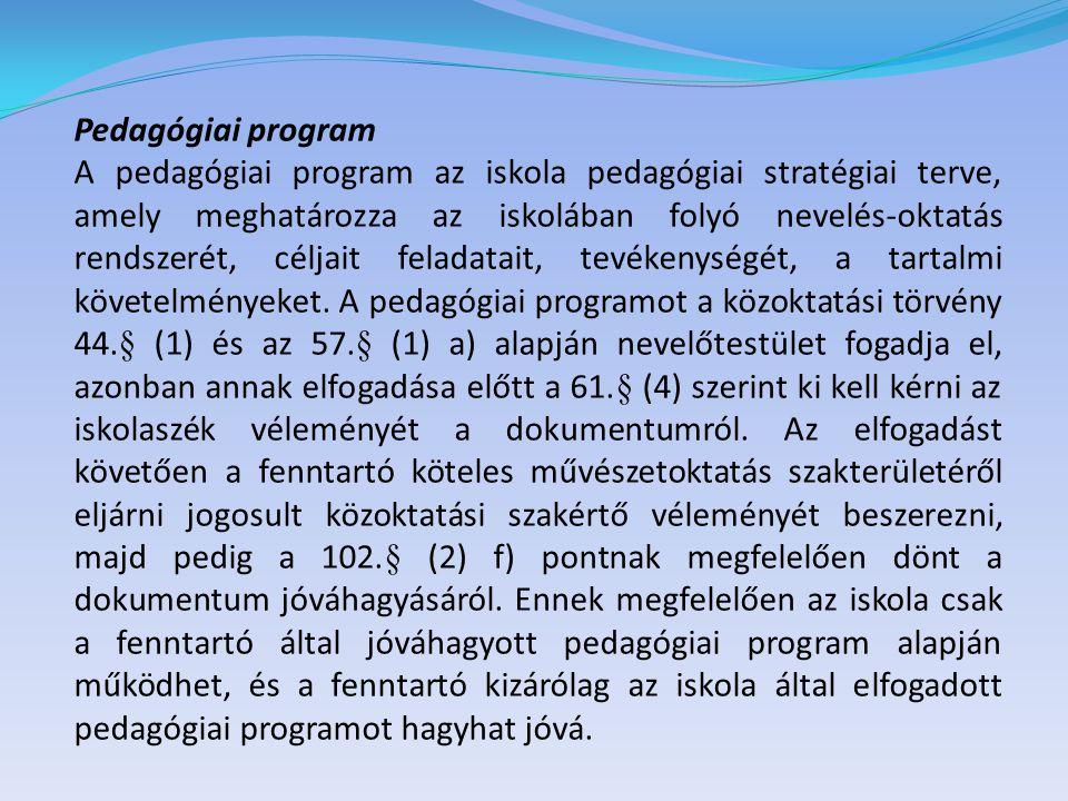A fenntartó a 103.§ (2) szerint csak akkor tagadhatja meg a pedagógiai program jóváhagyását, ha az nem felel meg a közoktatási törvényben előírtaknak, továbbá olyan többletfeladatokat tartalmaz, amelyekhez a feltételek nem biztosítottak, és annak megteremtését nem vállalja, illetve nem tartalmazza azokat a feladatokat, amelyeket — a szükséges feltételek biztosítása mellett — meghatározott.