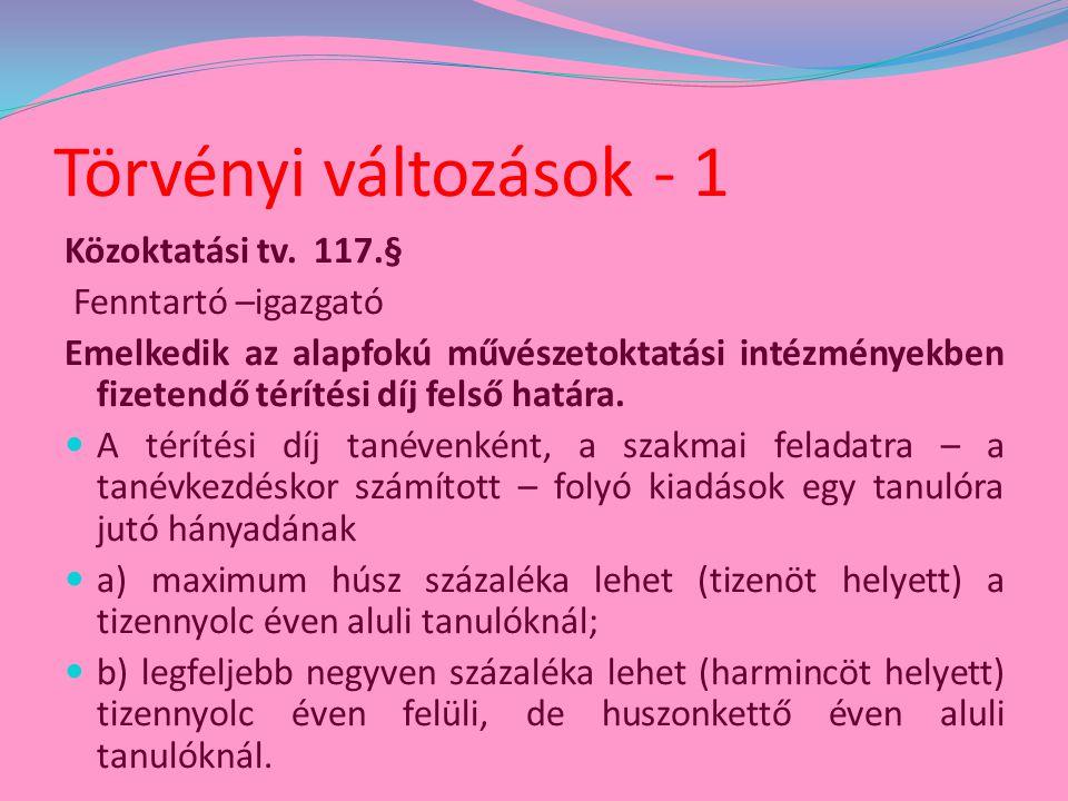Törvényi változások - 2 Az alapfokú művészetoktatási intézmények minősítési eljárásával kapcsolatos módosítás  A 2011/2012.