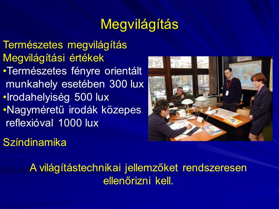 Szellőztetés Személyenként friss levegőtérfogat áramot kell az irodahelyiségbe betáplálni: 0,008 m 3 /sec illetve 30 m 3 /h.