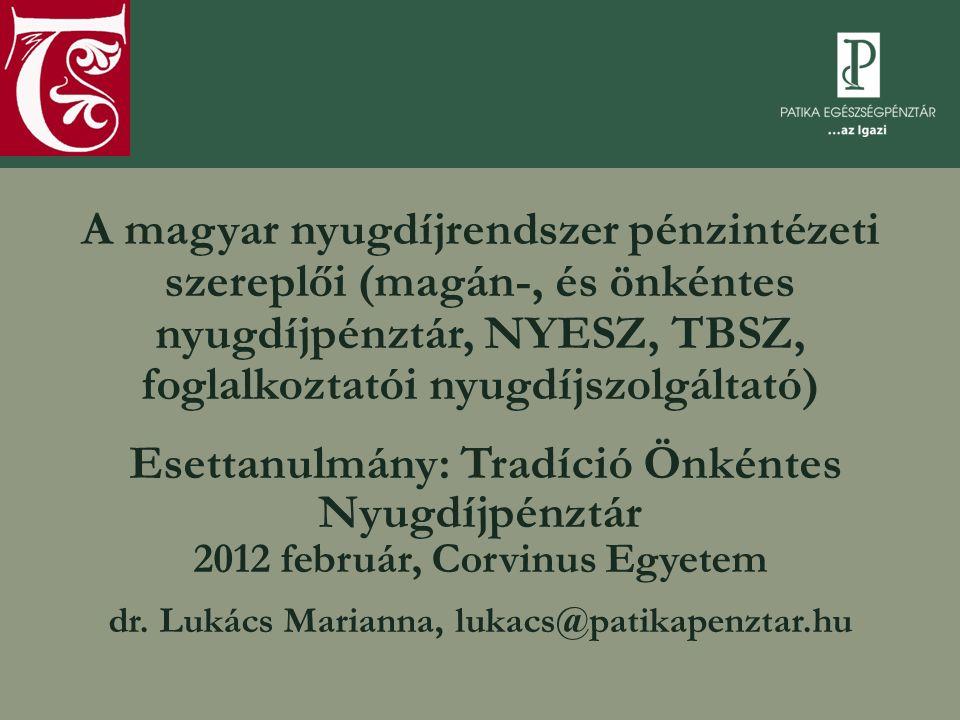 A Patika-csoport  Pénzügyi szolgáltatások:  1999: Patika Egészségpénztár  2006: Új Pillér Egészségpénztár  2007: Tradíció Nyugdíjpénztár  2010: Multi-Pay Cafeteria  fennállásunk óta 34 milliárd forint bevétel, 29 milliárd forint szolgáltatás  9,2 ezer szolgáltató  125 ezer kártya, 4,7 ezer munkáltató  Média:  2011: MediaCity Magyarország (Figyelő, IPM, Családi Lap, Digitális Fotó, Chip, Motorrevü, Műszaki Magazin)