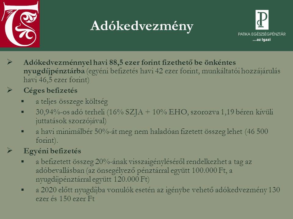 Az önkéntes nyugdíjpénztárak működési problémái  Az éves gyakorisággal változó jogszabályi környezet a szereplők számára kiszámíthatatlanná teszi a szektort  Korlátozott verseny: oligopol piac  Gyenge a magyar társadalom öngondoskodási hajlandósága  Ellenőrzési problémák (PSZÁF)  Adatszolgáltatatás hitelességének ellenőrzése  A pénztári szféra a törvényben lefektetett alapelvek szerinti működését nem ellenőrzik (függetlenség, nonprofit)
