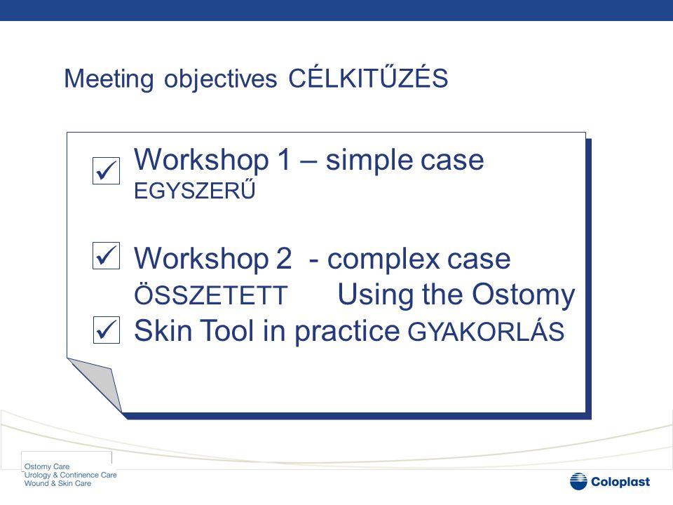 Workshops: 2 cases /2 ESET •Plenary: Introduction to the cases BEVEZETÉS •Workshop: MŰHELYMUNKA •Review case study with histories and photographs TÖRTÉNET+FOTÓ •Assess the case using the Ostomy Skin Tool- DIAGNÓZIS •Discuss with colleagues in your group - MEGBESZÉLÉS •Plenary: Voting and Discussion SZAVAZÁS+ VITA