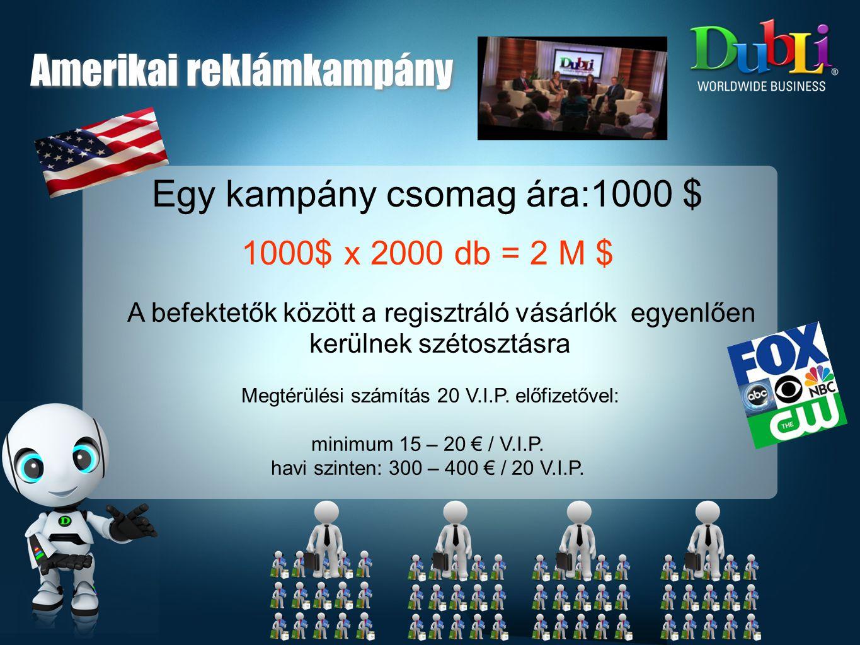 200 amerikai regisztráló, melyből 100 VIP 100 VIP előfizetése: 100 VIP x 25 kredit (15€) = 2500 kredit (1500€) Ha 10 VIP aktív kredit felhasználóvá válik ( X-Press, Unique Bid) 10 VIP x kb 600 kredit / hó = 6000 kredit ( 3600€) + havi vásárlási jutalék, és hálózati jutalék (kb 1 € / VIP) Amerikai reklámkampány
