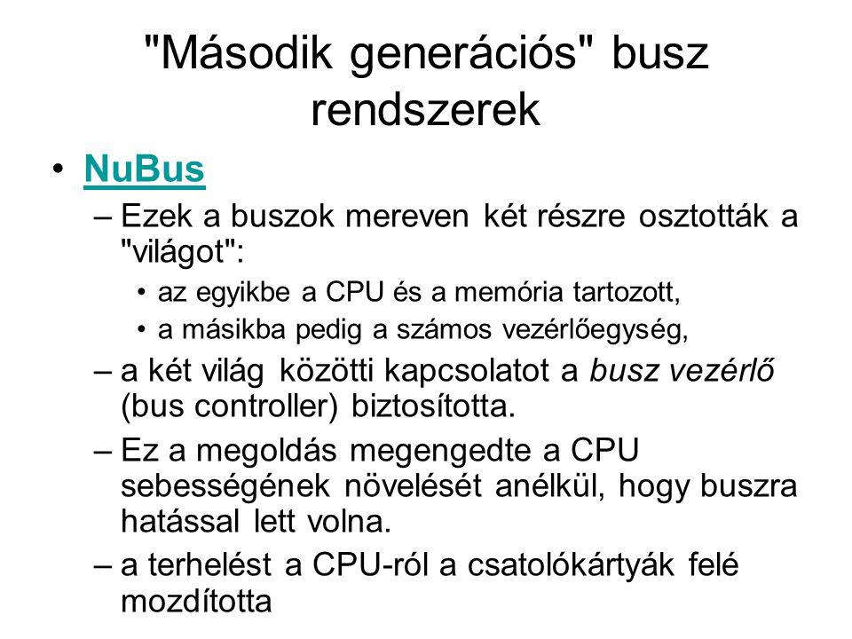 Jobb teljesítmény •8 bites párhuzamos buszokpárhuzamos buszok •16 bites, majd a 32 bites adatutak (szoftver segítségével történő konfigurálás, most ezt szabványosították, mint Plug-n-play)- a manuális jumper dugdosás kiváltásáraPlug-n-play