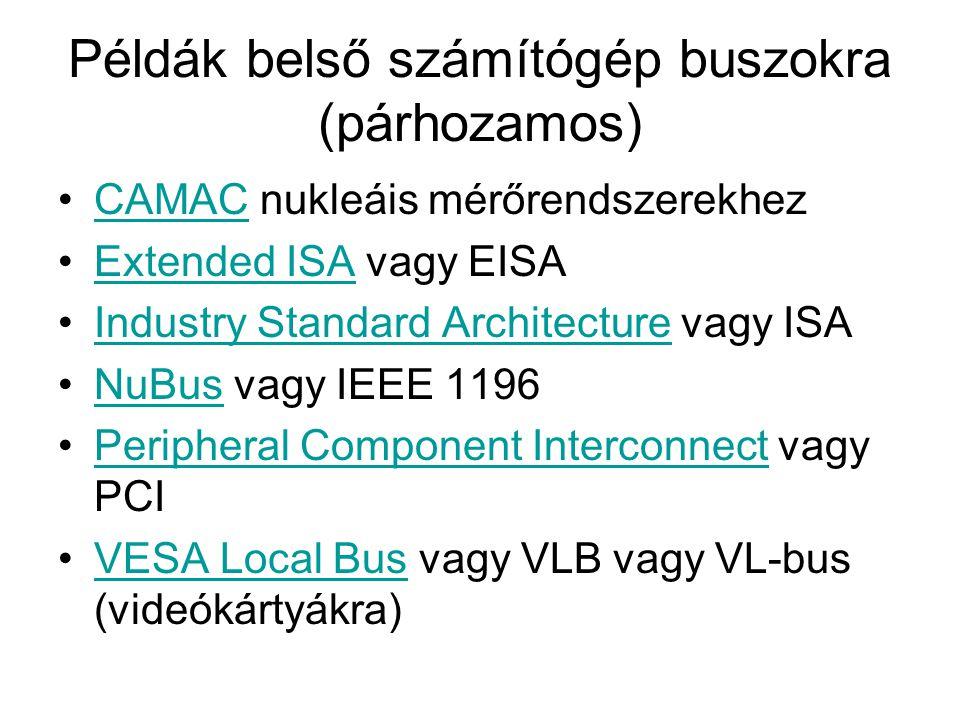 Példák belső számítógép buszokra (soros) •HyperTransportHyperTransport •I 2 CI 2 C •PCI Express or PCIePCI Express •Serial Peripheral Interface Bus vagy SPI busSerial Peripheral Interface Bus