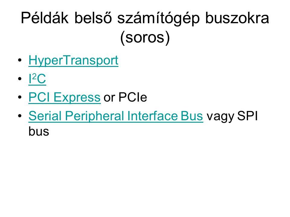 Példák külső számítógép buszokra Párhuzamos •Advanced Technology Attachment vagy ATA (megfelel a PATA, az IDE, az EIDE, az ATAPI stb.