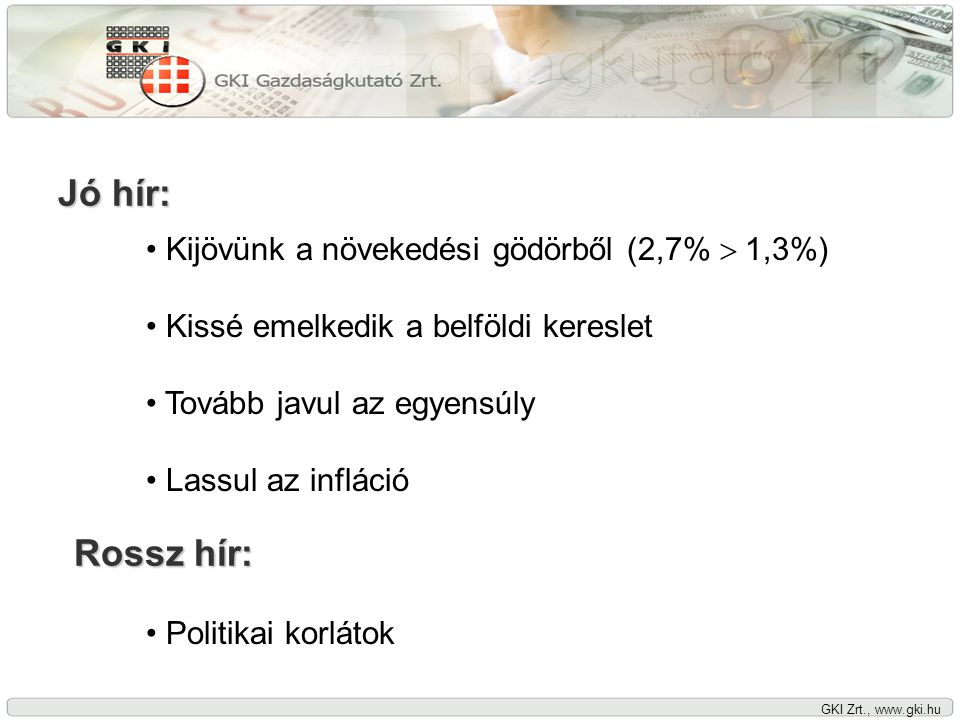 GKI Zrt., www.gki.hu A GDP növekedése negyedévenként, 2004-2008 Forrás: KSH, GKI Zrt.