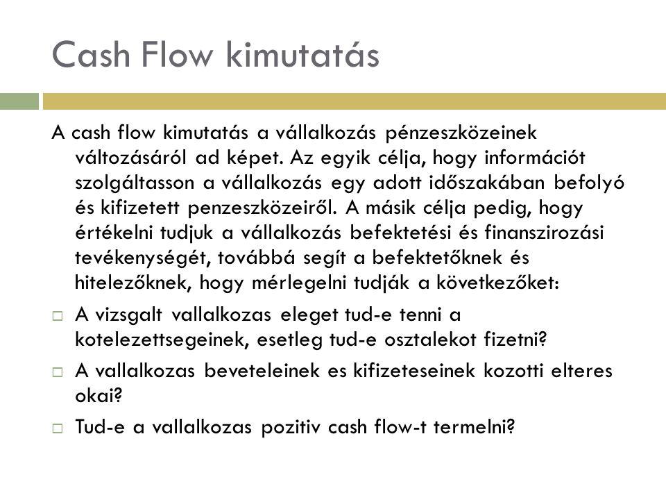 Cash Flow kimutatás A Cash Flow kimutatást mindíg három lépcsőben kell elkészíteni, melyek az alábbiak:  Működési cash flow meghatározása,  Befektetési tevékenységből származó cash flow  Finanszirozás cash flow-ja.